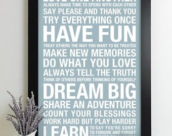 Family Rules Wall Art wall art family rules sign subway house rules print