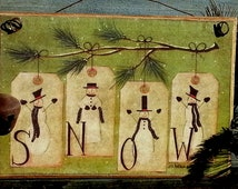 Rustic Snow Picture , Primitive Snowmen , Ready to hang , Sign , Gift , Handmade in USA