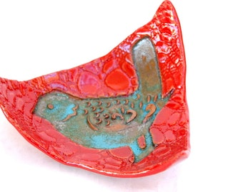 Red and Turquoise Ceramic Curved Plate, Made To Order