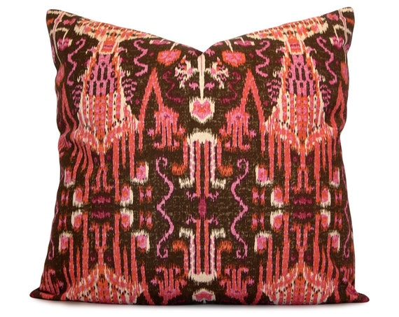 items similar to ikat pillow cover in brown orange raspberry and pink decorative pillow. Black Bedroom Furniture Sets. Home Design Ideas