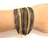 Black Gold chunky chains Bracelet - 24k gold plated