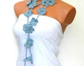 Hand made crochet gray, blue, Flower Lariat Scarf. Fashion Flower Scarves, Necklace...
