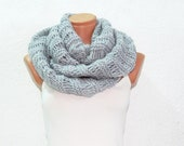 Knitted Grey  infinity Scarf Block Infinity Scarf. Loop Scarf, Circle Scarf, Neck Warmer. Gray Crochet Infinity