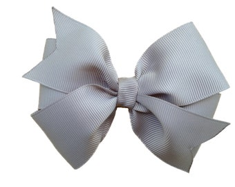 4 inch gray hair bow - gray bow, grey bow, silver bow, 4 inch bow, pinwheel bow, girls hair bows, girls bows, toddler bows, gray hair bows