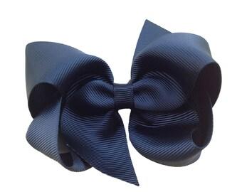 4 inch black boutique hair bow - black bow, black boutique bow