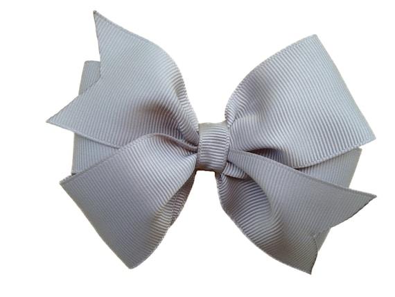 4 inch gray hair bow - gray bow, grey bow, silver bow, 4 inch bow, pinwheel bow, girls hair bows, girls bows, toddler bows, gray hair bows