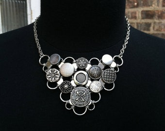 Vintage Button Bib Necklace