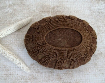 Collectible Art Crocheted Lace Stone, Rustic Tribal Art, One of a Kind, Camel Colored Cotton Thread, Handmade, Tiny Stitches, Unique Gift