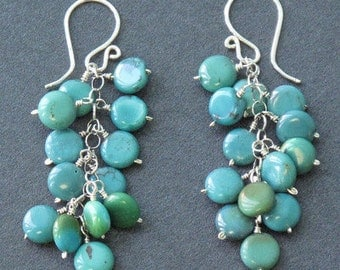 Turquoise cluster earrings on french wires Modglam 21