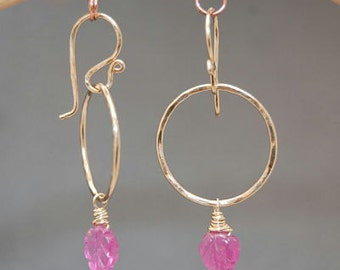Pink sapphire on hammered circle earrings Victorian 253