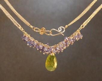 Tanzanite and Idocrase on multi-chain necklace Necklace 297