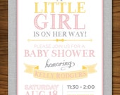 Little Girl Baby Shower Invitation with Bow, Vintage, Pink and Yellow, Printable, Customizable #96