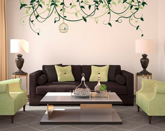 Wall Decal Custom Vinyl Art Stickers - Birdcage And Vines