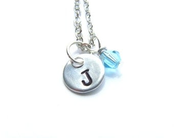 Small Initial Necklace, Handstamped Jewelry, Customized, w/ Birthstone, Hand Stamped Necklace, Personalized Necklace