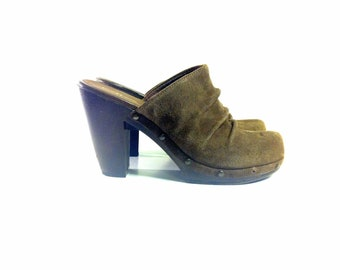 Brown Leather Platform Clogs 9 - Ruched Leather Slip On Wooden Clogs 9.5