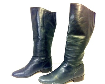 Vintage Navy Leather Riding Boots 9 - Knee High Slouchy Flat Boots 9 - Womens Boots 9