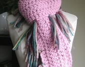 Zooey Scarf - Wool Blend with Lots of Fringe -- Crocheted -- Pink with multicolored sideways fringe