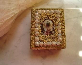 Vintage Florentine Seashell Box/ Italian Florentine box