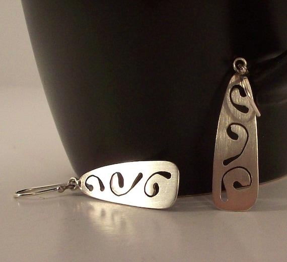 Sterling Silver Vine Cut-Out Earrings - Climbing Vine - Metalworked Silver Earrings