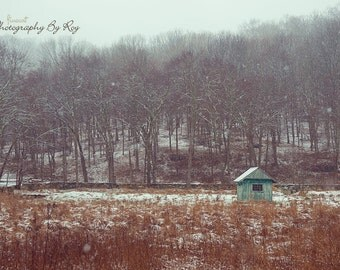 Cabin in First Snow, muted winter scene original landscape photography - New York, Upstate