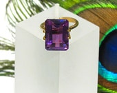 Amethyst Faceted Octagon - Exceptional 14X12mm Natural Faceted Gemstone Birthstone: LSAmethyst14X12mmOcto-Em
