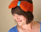 Bow Ear Warmer Orange and Aqua Crochet Oversized Bow Head Wrap