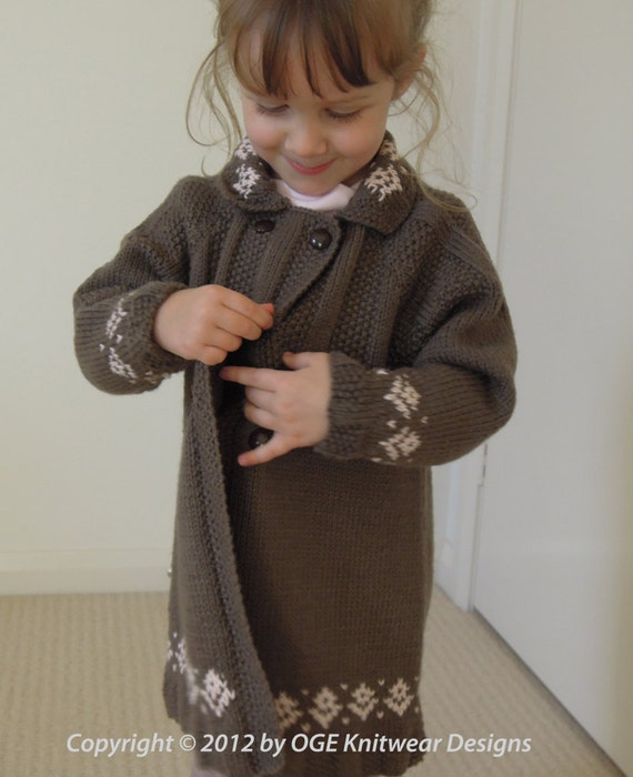 Girls coat - double breasted with fair isle and moss stitch trim P018