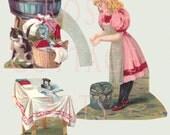 """Digital Download Antique Die Cut """"The Laundress"""" Paper Dolls Victorian Scrap Graphic Images"""