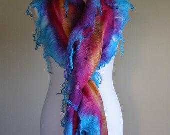 Hand Dyed Felted Cobweb Fringed Silk Ruffle Scarf Wrap Stole Soft Warm Lightweight