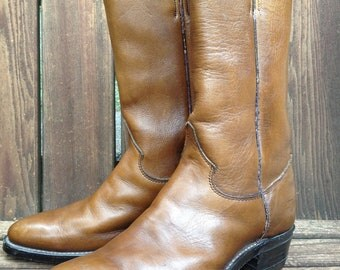 Vintage USA Justin Cowboy Boots Chestnut Brown Women Size 7 - 7.5