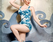 Ruby Vavoom Playsuit in Blue Flower (XS-XL)