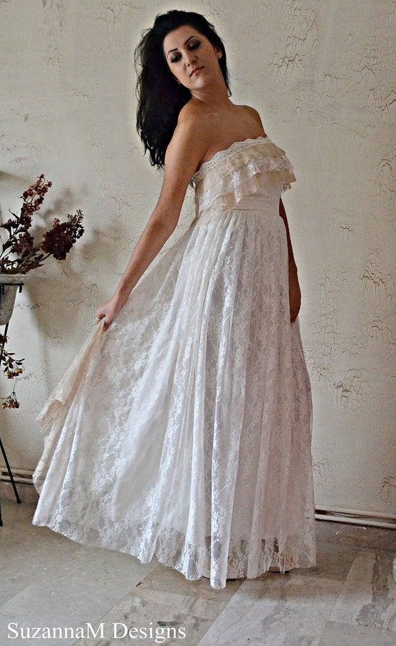 Boho Lace Wedding Dress Etsy : Bohemian wedding dress ivory lace long strappless bridal