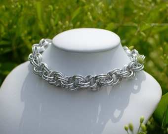 Shiny Silver Luxury Dog / Cat Chainmaille Collar with or without Breakaway Safety Clasp - Ready To Ship