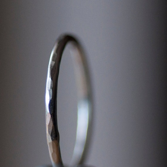Stacking ring. Recycled sterling silver. Hammered texture