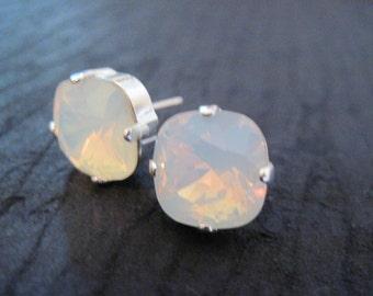 12mm Square Crystal Studs/ White Opal Swarovski Crystal Earrings/ Cushion Set Stud Earrings/ Crystal Studs/ Bridesmaid Earrings