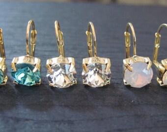 Pink Opal Swarovski Crystal Drop Earrings/Bridesmaid Earrings/Bridesmaid Jewelry/Swarovski Studs/Swarovski Earrings/8mm Crystal Earrings
