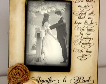 Wedding  Distressed Vintage Picture 4x6 Thank you Parent loving family  Photo Frame - Personalized Gift - Keepsake