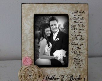 Wedding Picture Frame Bride Groom Parents  Distressed Vintage Picture 4x6 5x7 Thank you Parent Photo Frame - Personalized Gift - Keepsake