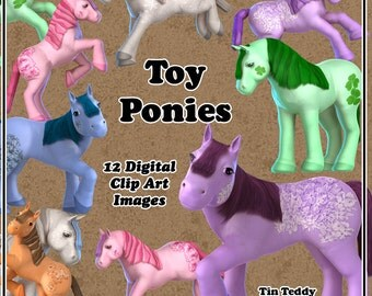 Toy Ponies Digital Clip Art - 12 cute images of colorful little horses for your  birthday card making & other crafts