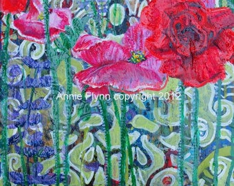 "Archival Print of Original Oil Painting ""Poppy Garden on Emerald Damask with Salvia"""