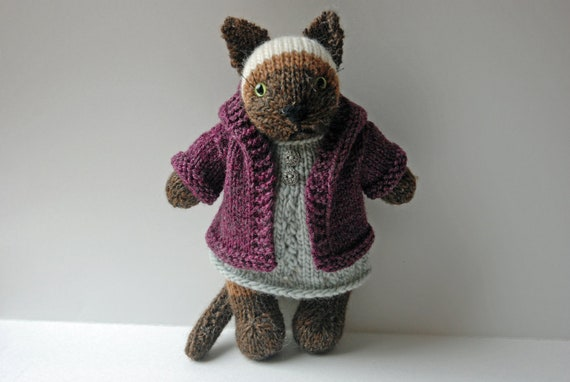 Knitted Siamese Cat  toy in Winter Wool Dress and Hoodie