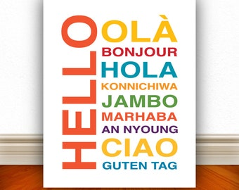 Hello Bonjour Hola Wall Art, Kids Wall Art, Nursery Wall Art, Home Decor, Home Wall Art, Apartment Art, Apartment Print, Custom Color - 8x10