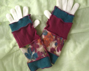 ON SALE! Arm warmers, fingerless gloves, upcyled cashmere, teal, magenta, print, gloves included