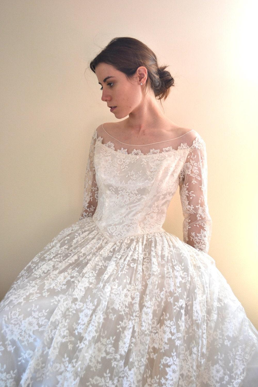 50s Wedding Dress Vintage 1950s Wedding Dress 50s Dress