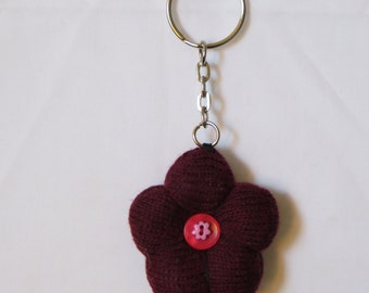 dark red flower sock keyring