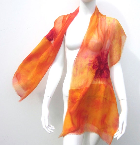Christmas Sale Autumn Sunset Silk Scarf Nuno Felt Summer Wrap Yellow Orange and Fuchsia