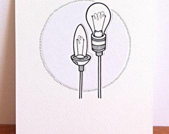original drawing - lightbulb art - 'ice' - hand drawn light bulbs - light bulb illustration in black and white