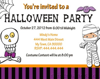 Halloween Invitations Printable Party Invites Personalized Custom Orders Costume Party Invitations Print at Home