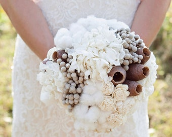 Preserved Wedding Bouquets and Boutonnieres - Hydrangeas, Cotton, Silver Brunia, Solas