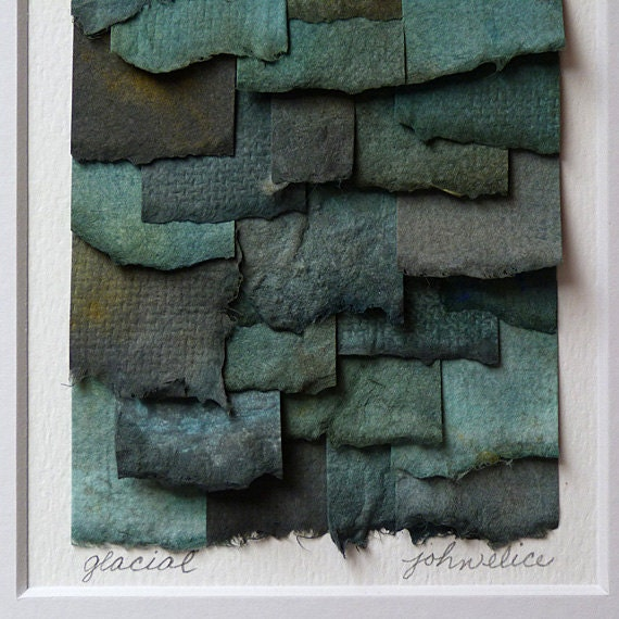Abstract Handpainted Watercolor Paper Collage in Shades of Turqoise Blue Gray and Green